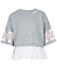 Converse Big Girls Mesh-Trim Graphic-Print T-Shirt