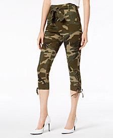 Kendall + Kylie Camo-Print Lace-Up Capri Pants