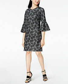 Calvin Klein Floral Printed Bell-Sleeve Sheath Dress