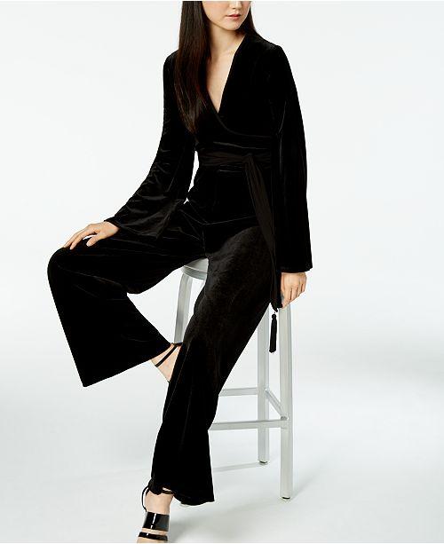 84fafbc0bb2 Calvin Klein Wide-Leg Velvet Jumpsuit   Reviews - Pants   Capris ...