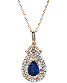 "Sapphire (3/4 ct. t.w.) & Diamond (1/3 ct. t.w.) 18"" Pendant Necklace in 14k Gold (Also Available in Emerald)"