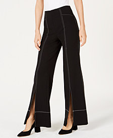 I.N.C. Petite Contrast Stitch Split-Front Wide-Leg Pant, Created for Macy's