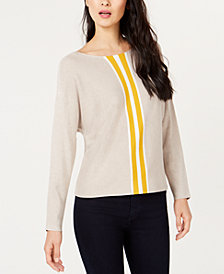 I.N.C. Petite Varsity Stripe Sweater, Created for Macy's