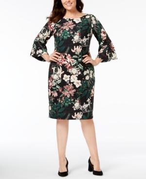 Calvin Klein Plus Size Floral Bell-Sleeve Dress
