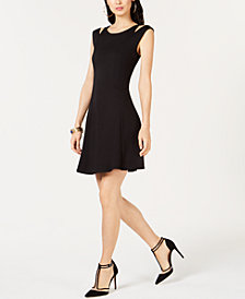 I.N.C. Cold-Shoulder Fit & Flare Dress, Created for Macy's