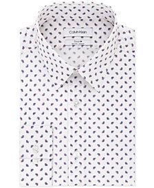 Calvin Klein Men's STEEL Slim-Fit Non-Iron  Performance Stretch Purple Print Dress Shirt