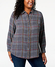 Charter Club Plus Size Plaid Shirt, Created for Macy's