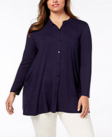 Eileen Fisher Plus-Size Stretch Jersey Mandarin-Collar Tunic