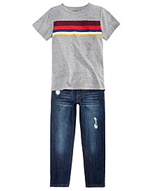 Epic Threads Toddler Boys Chest-Stripe T-Shirt & Ripped Jeans Separates, Created for Macy's