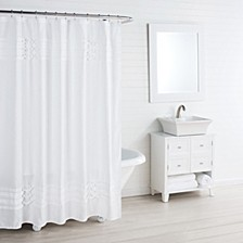 Triple Diamond White Shower Curtain