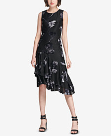 DKNY Floral Asymmetrical A-Line Dress, Created for Macy's