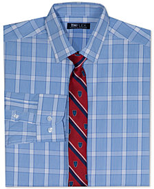 Tommy Hilfiger Big Boys Stretch Plaid Shirt with Tie