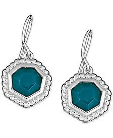 Green Agate Drop Earrings in Sterling Silver
