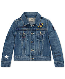 Polo Ralph Lauren Little Girls Polo Bear Cotton Denim Jacket