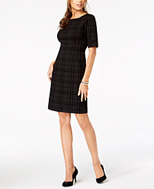 Alfani Flocked Sheath Dress, Created for Macy's