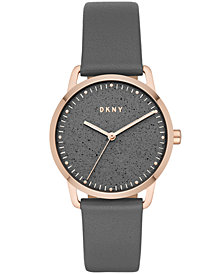 DKNY Women's Greenpoint Gray Leather Strap Watch 36mm, Created for Macy's