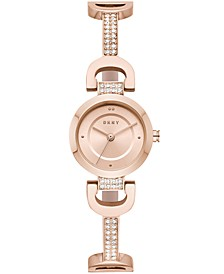 Women's City Link Rose Gold-Tone Pavé Crystal Stainless Steel Half-Bangle Bracelet Watch 24mm, Created for Macy's