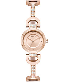 DKNY Women's City Link Rose Gold-Tone Pavé Crystal Stainless Steel Half-Bangle Bracelet Watch 24mm, Created for Macy's