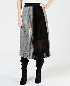Marella Pleated Chiffon-Panel Skirt