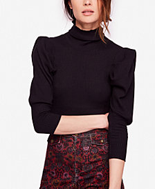 Free People Lala Puffed-Sleeve Turtleneck