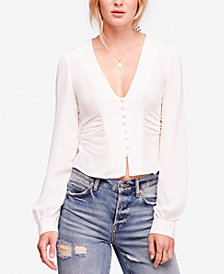 Free People Maise Smocked-Back Blouse