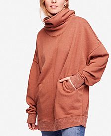 Free People Too Easy Oversized Cotton Turtleneck Sweater