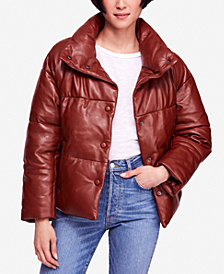 Free People Leather Puffer Coat
