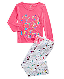 Max & Olivia Little & Big Girls Love Graphic Pajamas Set