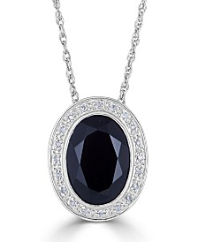 "Onyx (18 x 13mm) & Diamond (1/10 ct. t.w.) 18"" Pendant Necklace in Sterling Silver"