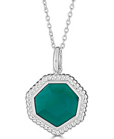 """Green Agate Beaded Frame 18"""" Pendant Necklace in Sterling Silver"""