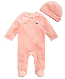 First Impressions Baby Girls 2-Pc. Bear Footed Coverall & Hat Set, Created for Macy's