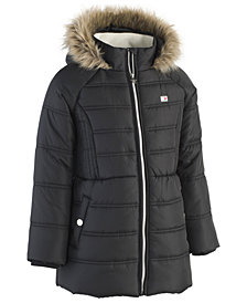 Tommy Hilfiger Big Girls Hooded Puffer Jacket with Faux-Fur Trim