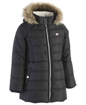 Tommy Hilfiger Big Girls Hooded Puffer Jacket with FauxFur Trim