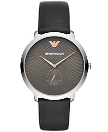 Emporio Armani Men's Black Leather Strap Watch 42mm