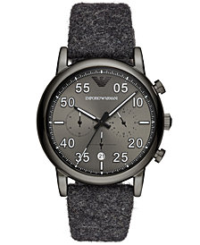 Emporio Armani Men's Chronograph Gray Fabric Felt Strap Watch 43mm