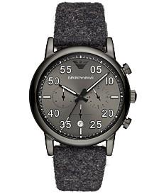 Emporio Armani Men's Chronograph Gray Fabric Felt Strap Watch 43mm