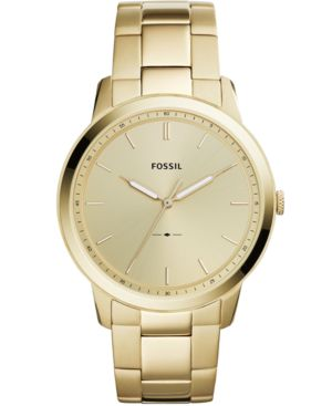 FOSSIL Men'S Minimalist Gold-Tone Stainless Steel Bracelet Watch 44Mm
