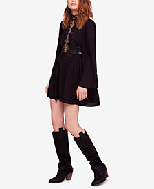 Free People Divine Lace-Trim Mini Dress