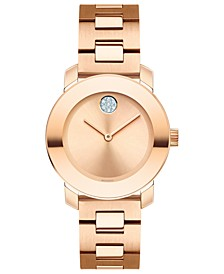 Women's Swiss BOLD Rose Gold-Tone Stainless Steel Bracelet Watch 30mm