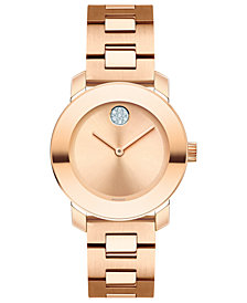 Movado Women's Swiss BOLD Rose Gold-Tone Stainless Steel Bracelet Watch 30mm