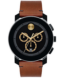 Movado Mens BOLD Chronograph Cognac Bull Hide Leather Strap Watch 43mm
