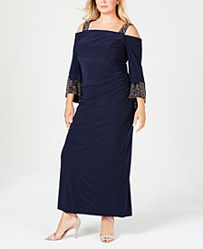 Betsy & Adam Plus-Size Beaded Cold-Shoulder Dress
