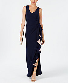 Betsy & Adam Ruched Contrast-Ruffle Gown