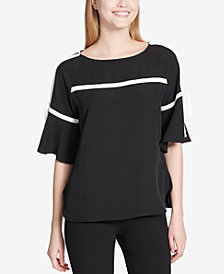 Calvin Klein Piped Flare-Sleeve Top