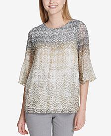 Calvin Klein Printed Flare-Sleeve Top