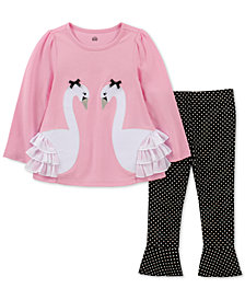 Kids Headquarters Baby Girls 2-Pc. Swan Tunic & Dot-Print Leggings Set