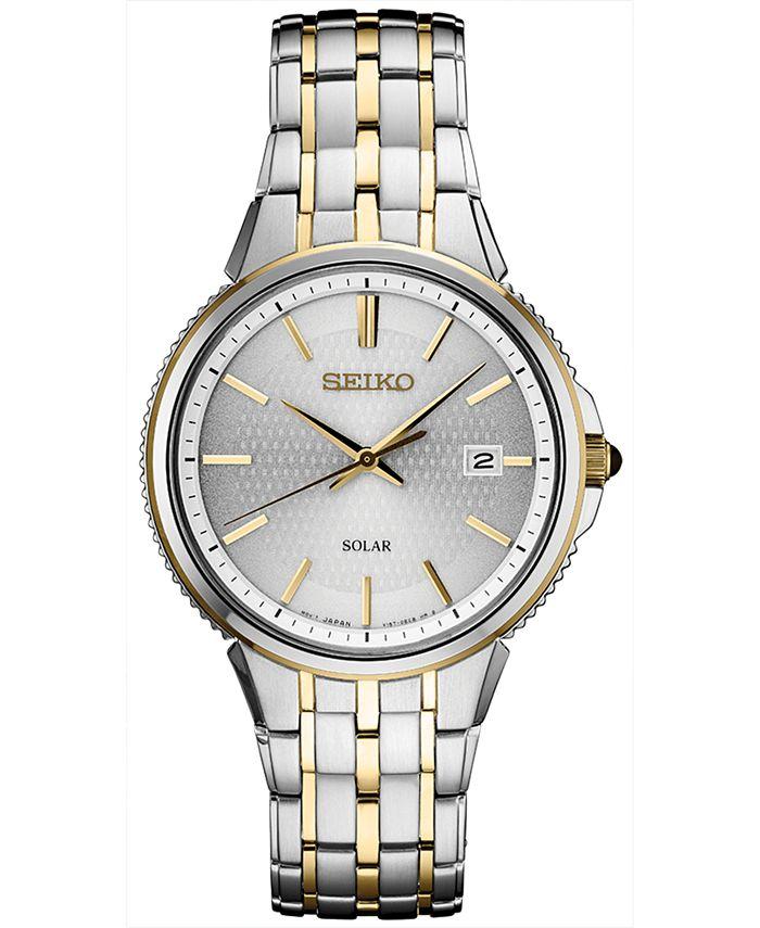 Seiko - Men's Solar Essentials Two-Tone Stainless Steel Bracelet Watch 39.4mm