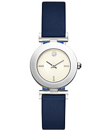Tory Burch Women's Sawyer Navy & Blue Pull & Twist Reversible Leather Strap Watch 29mm