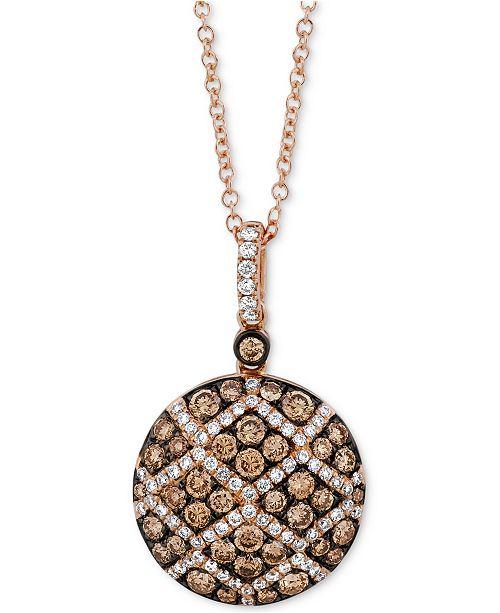"""Le Vian Chocolatier® Diamond Pavé 18"""" Pendant Necklace (7/8 ct. t.w.) in 14k Rose Gold"""