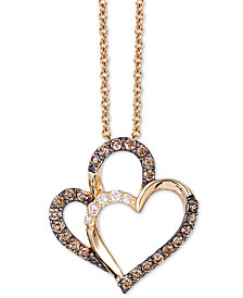 "Le Vian Chocolatier® Diamond Heart 18"" Pendant Necklace (1/4 ct. t.w.) in 14k Gold"